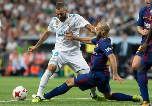 Real Madrid´s French forward Karim Benzema and FC Barcelona´s midfielder Javier Alejandro Mascherano during the second leg of the Spanish Super Cup between Real Madrid and FC Barcelona played at Santiago Bernabeu Stadium in Madrid, Spain, on August 16th 2017, Photo Rudy / SpainDPPI / DPPI
