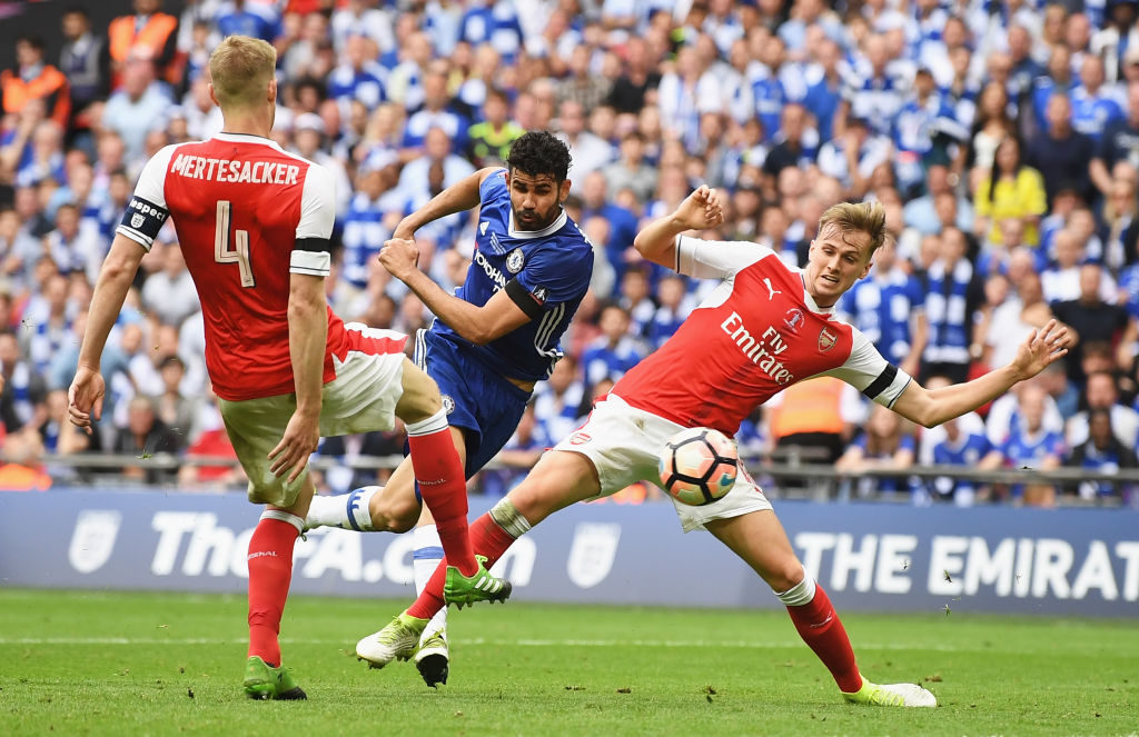 LONDON, ENGLAND - MAY 27:  Diego Costa of Chelsea scores his sides first goal during The Emirates FA Cup Final between Arsenal and Chelsea at Wembley Stadium on May 27, 2017 in London, England.  (Photo by Mike Hewitt/Getty Images)