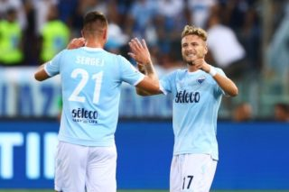 Ciro Immobile of Lazio and Sergej Milinkovic-Savic of Lazio celebrating after the penalty of 0-1 scored  during the Italian Supercup match between Juventus and SS Lazio at Stadio Olimpico on August 13, 2017 in Rome, Italy.  (Photo by Matteo Ciambelli/NurPhoto)
