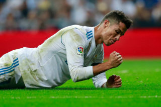 MADRID, SPAIN - SEPTEMBER 20:  Cristiano Ronaldo of Real Madrid CF reacts as he fail to score during the La Liga match between Real Madrid CF and Real Betis Balompie at Estadio Santiago Bernabeu on September 20, 2017 in Madrid, Spain.  (Photo by Gonzalo Arroyo Moreno/Getty Images)
