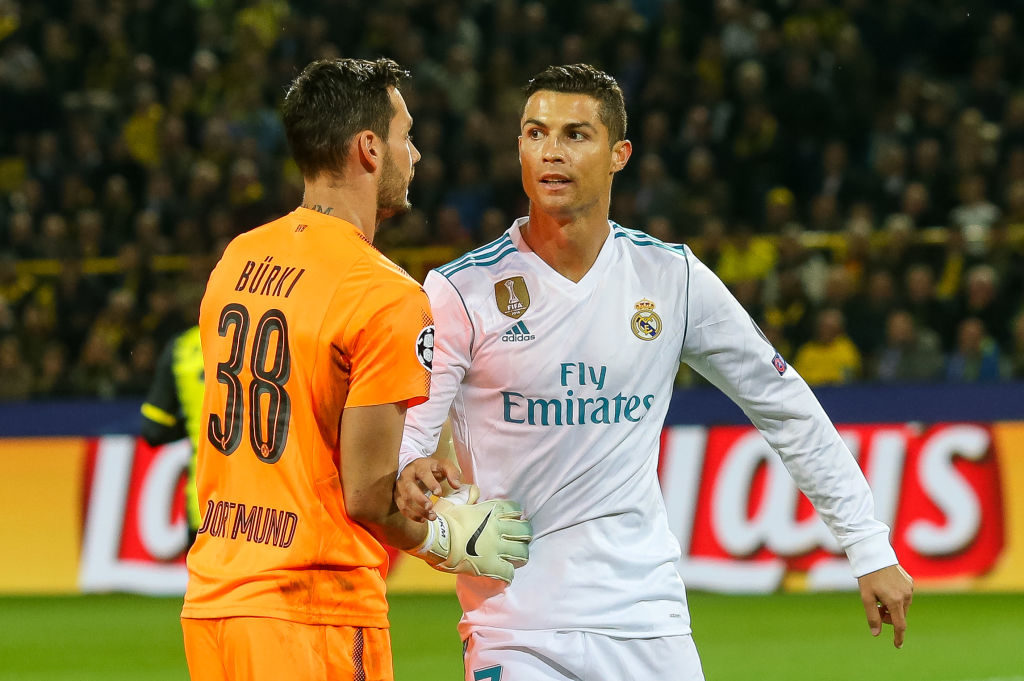 DORTMUND, GERMANY - SEPTEMBER 26: Goalkeeper Roman Buerki of Dortmund and Cristiano Ronaldo of Real Madrid looks on during the UEFA Champions League group H match between Borussia Dortmund and Real Madrid at Signal Iduna Park on September 26, 2017 in Dortmund, Germany. (Photo by TF-Images/TF-Images via Getty Images)