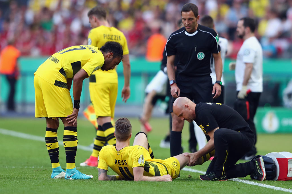 BERLIN, GERMANY - MAY 27:  Marco Reus of Dortmund receives treatment during the DFB Cup Final between Eintracht Frankfurt and Borussia Dortmund at Olympiastadion on May 27, 2017 in Berlin, Germany.  (Photo by Alex Grimm/Bongarts/Getty Images)