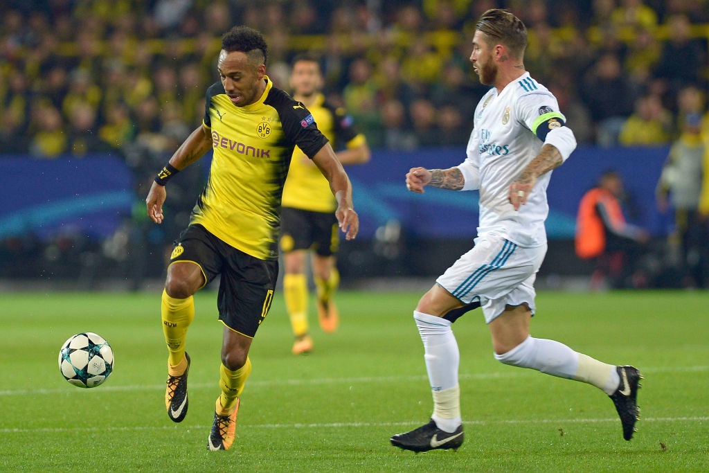 DORTMUND, GERMANY - SEPTEMBER 26: Auba, Pierre-Emerick Aubameyang of Dortmund , Sergio Ramos of Real Madrid battle for the ball during the UEFA Champions League group H match between Borussia Dortmund and Real Madrid at Signal Iduna Park on September 26, 2017 in Dortmund, Germany. (Photo by TF-Images/TF-Images via Getty Images)