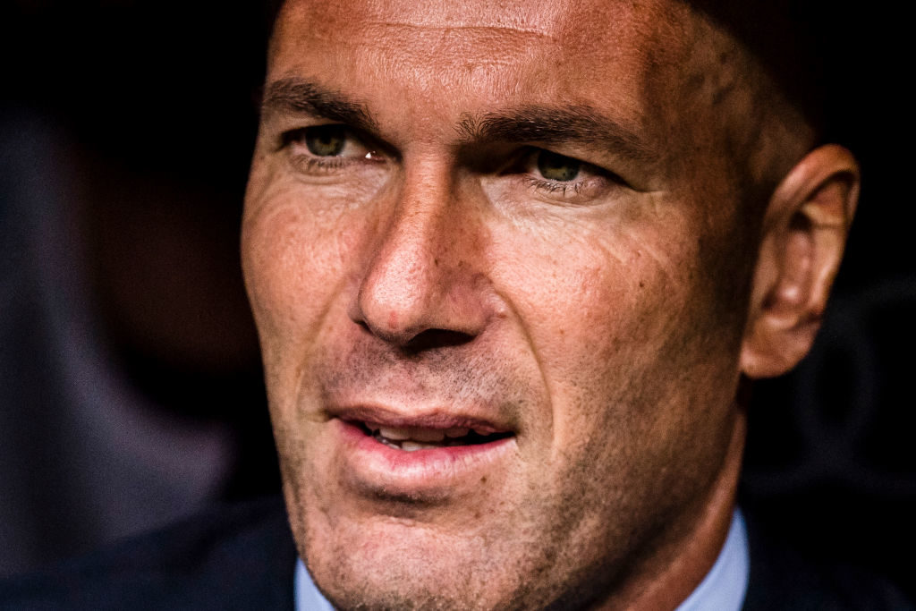 MADRID, SPAIN - OCTOBER 01: Manager Zinedine Zidane of Real Madrid reacts prior the La Liga 2017-18 match between Real Madrid and RCD Espanyol at Estadio Santiago Bernabeu on 01 October 2017 in Madrid, Spain. (Photo by Power Sport Images/Getty Images)