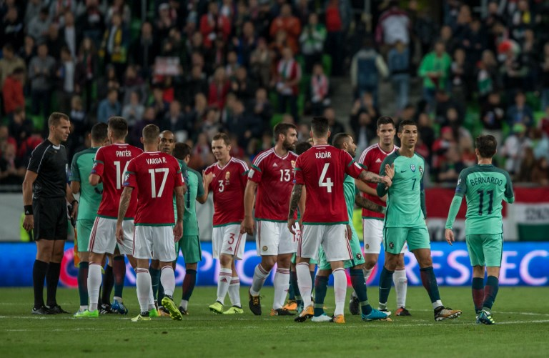 Team Hungary thanks the support against their fans after the World Cup qualification match between Hungary and Portugal at Groupama Arena on Nov 03, 2017 in Budapest, Hungary. (Photo by Robert Szaniszló/NurPhoto)