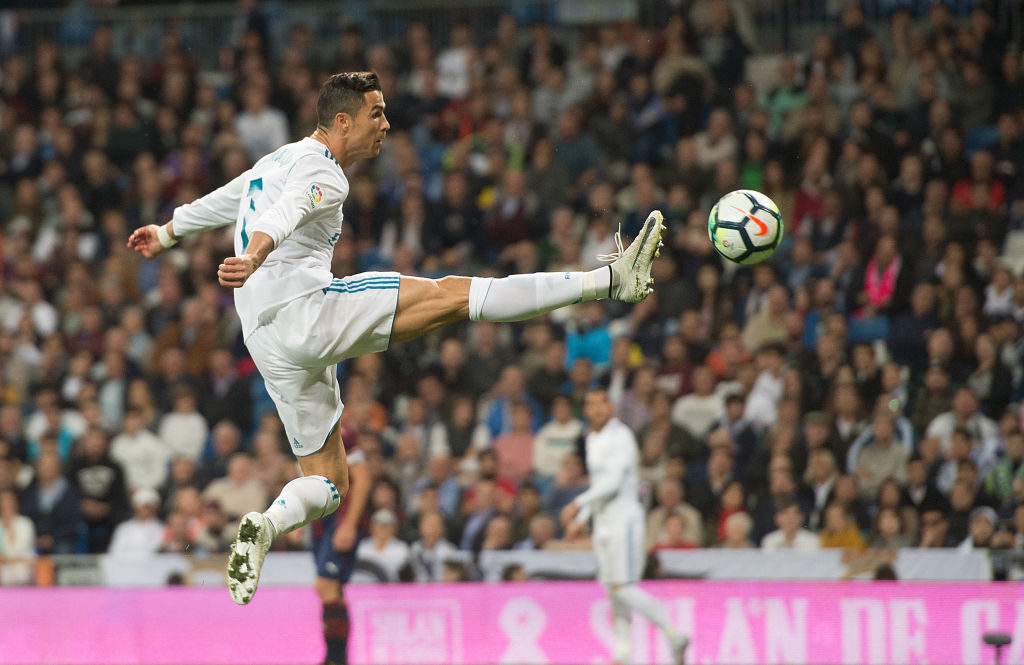 MADRID, SPAIN - OCTOBER 22: Cristiano Ronaldo of Real Madrid CF tries to control the ball during the La Liga match between Real Madrid and Eibar at Estadio Santiago Bernabeu on October 22, 2017 in Madrid, Spain. (Photo by Denis Doyle/Getty Images)