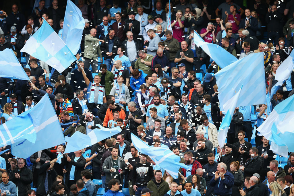MANCHESTER, ENGLAND - SEPTEMBER 23:  Manchester City fans cheer on their team during the Premier League match between Manchester City and Crystal Palace at Etihad Stadium on September 23, 2017 in Manchester, England.  (Photo by Alex Livesey/Getty Images)