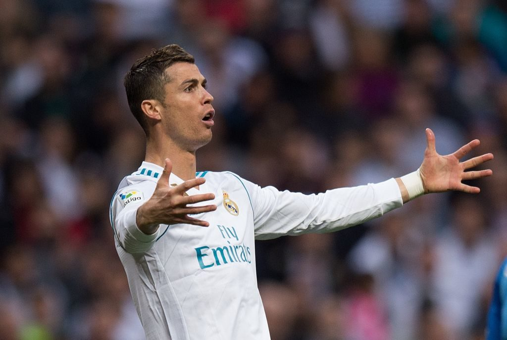 MADRID, SPAIN - NOVEMBER 25: Cristiano Ronaldo of Real Madrid CF reacts during the La Liga match between Real Madrid and Malaga at Estadio Santiago Bernabeu on November 25, 2017 in Madrid, Spain. (Photo by Denis Doyle/Getty Images)
