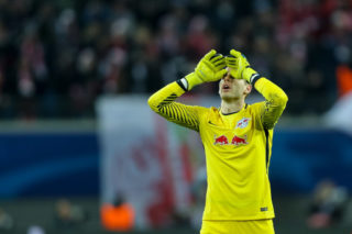 LEIPZIG, GERMANY - DECEMBER 06: Goalkeeper Peter Gulacsi of Leipzig gestures during the UEFA Champions League group G soccer match between RB Leipzig and Besiktas at the Leipzig Arena in Leipzig, Germany on December 06, 2017. (Photo by TF-Images/TF-Images via Getty Images)