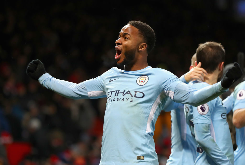 MANCHESTER, ENGLAND - DECEMBER 10:  Raheem Sterling of Manchester City celebrates after the Premier League match between Manchester United and Manchester City at Old Trafford on December 10, 2017 in Manchester, England.  (Photo by Michael Steele/Getty Images)