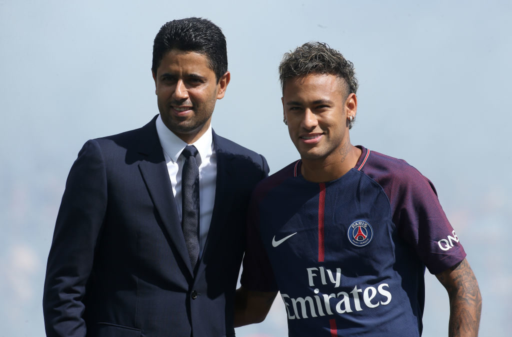 PARIS, FRANCE - AUGUST 5: Neymar Jr of PSG is presented by President of PSG Nasser Al-Khelaifi to the supporters before the French Ligue 1 match between Paris Saint Germain (PSG) and Amiens SC at Parc des Princes on August 5, 2017 in Paris, . (Photo by Jean Catuffe/Getty Images)