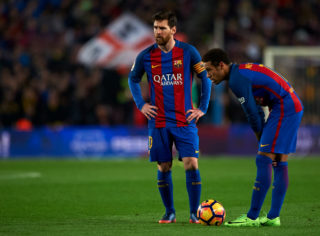 BARCELONA, SPAIN - FEBRUARY 19:  Lionel Messi (L) and Neymar Jr of Barcelona looks on during the La Liga match between FC Barcelona and CD Leganes at Camp Nou Stadium on February 19, 2017 in Barcelona, Spain.  (Photo by fotopress/Getty Images)