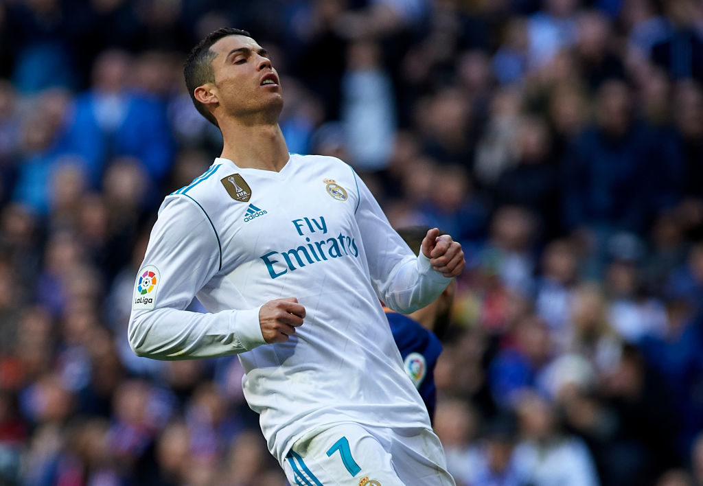 MADRID, SPAIN - DECEMBER 23:  Cristiano Ronaldo of Real Madrid reacts during the La Liga match between Real Madrid and Barcelona at Estadio Santiago Bernabeu on December 23, 2017 in Madrid, Spain.  (Photo by fotopress/Getty Images)