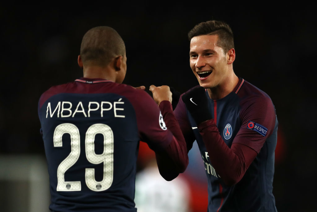 PARIS, FRANCE - NOVEMBER 22: Kylian Mbappe of PSG celebrates with Julian Draxler of PSG after he scores his sides fourth goal  during the UEFA Champions League group B match between Paris Saint-Germain and Celtic FC at Parc des Princes on November 22, 2017 in Paris, France.  (Photo by Catherine Ivill/Getty Images)