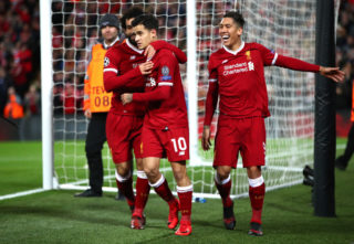 during the UEFA Champions League group E match between Liverpool FC and Spartak Moskva at Anfield on December 6, 2017 in Liverpool, United Kingdom.