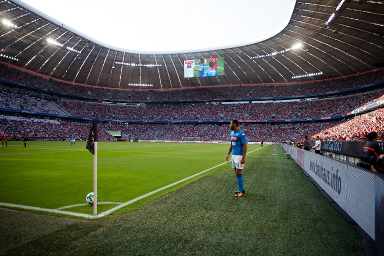 Ghulam Faouzi of Napoli strikes a corner kick during the Audi Cup soccer match between FC Bayern Munich and SSC Napoli at the Allianz Arena in Munich, Germany on August 02, 2017. (Photo by Paolo Manzo/NurPhoto)