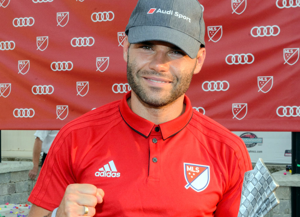 JOLIET, IL - AUGUST 01: Nemanja Nikolic of Chicago Fire attends as Audi hits the track with Major League Soccer All-Star players ahead of MLS All-Star Game in Chicago at Autobahn Country Club on August 1, 2017 in Joliet, Illinois.   Daniel Boczarski/Getty Images for Audi/AFP