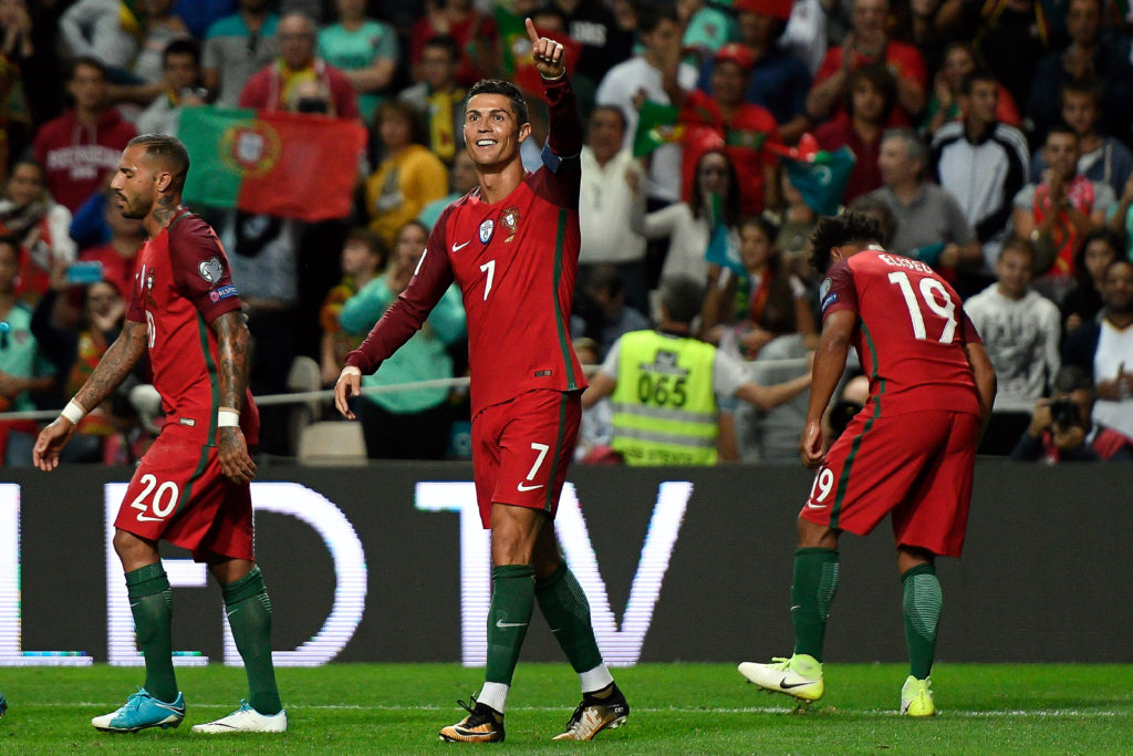 Cristiano Ronaldo  player of Portugal during match against  Faroe's  during the WC2018 qualifying football match Portugal vs Faroe Islands at the Bessa stadium in Porto on August 31, 2017.  (PHOTO: BRUNO DE CARVALHO/BRAZIL PHOTO PRESS)