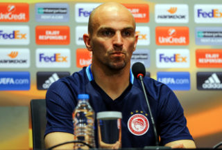 ISTANBUL, TURKEY - MARCH 15: Esteban Cambiasso of Olympiacos attends a press conference ahead of the UEFA Europa League round of 16 match between Besiktas and Olympiacos, at the Vodafone Arena in Istanbul, Turkey on March 15, 2017. Salih Zeki Fazlioglu / Anadolu Agency