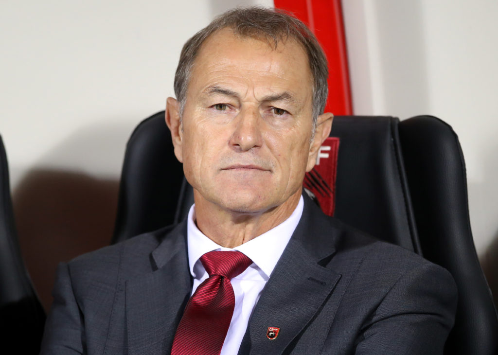 Albania's coach Giovanni De Biasi stands prior the World Cup 2018 qualifier football match Albania vs Spain in Loro Borici stadium in the city of Shkoder on October 9, 2016. / AFP PHOTO / GENT SHKULLAKU
