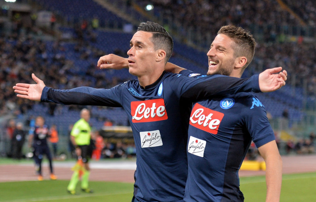 Jose Maria Callejon celebrates with Dries Mertens after scoring a goal during the Italian Serie A football match S.S. Lazio vs S.S.C. Napoli at the Olympic Stadium in Rome, september on 21, 2017. (Photo by Silvia Lore/NurPhoto)