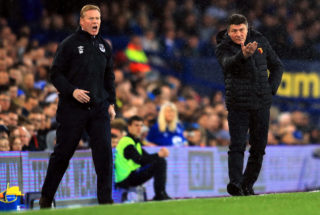LIVERPOOL, ENGLAND - MAY 12: Ronald Koeman, Manager of Everton and Walter Mazzarri, Manager of Watford both give their sides instructions during the Premier League match between Everton and Watford at Goodison Park on May 12, 2017 in Liverpool, England.  (Photo by Richard Heathcote/Getty Images)