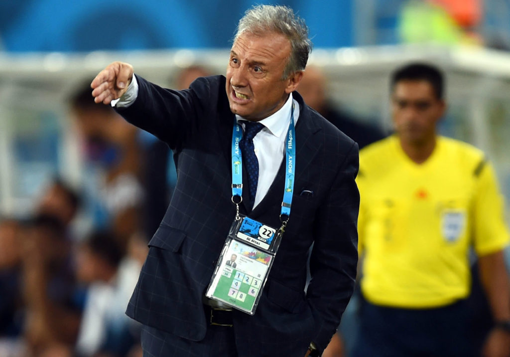 NATAL, BRAZIL - JUNE 19:  Head coach Alberto Zaccheroni of Japan gestures during the 2014 FIFA World Cup Brazil Group  C match between Japan and Greece at Estadio das Dunas on June 19, 2014 in Natal, Brazil.  (Photo by Jamie McDonald/Getty Images)