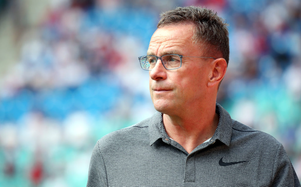 LEIPZIG, GERMANY - AUGUST 27: Sports director Ralf Rangnick of RB Leipzig looks on prior to the Bundesliga match between RB Leipzig and Sport-Club Freiburg at Red Bull Arena on August 27, 2017 in Leipzig, Germany. (Photo by Ronny Hartmann/Bongarts/Getty Images)