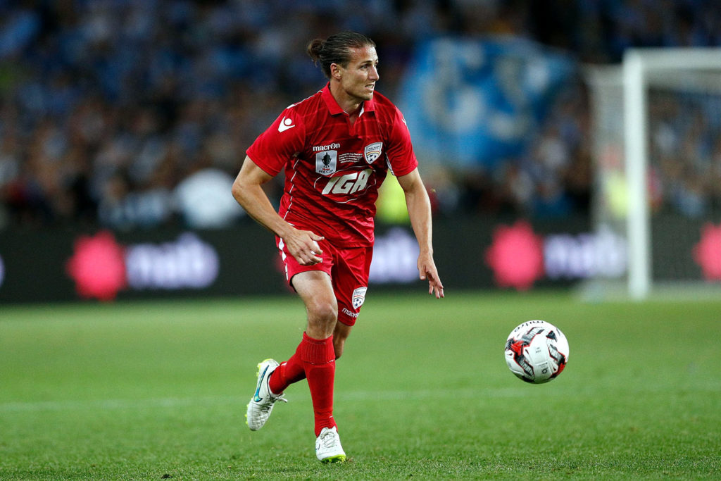 SYDNEY, AUSTRALIA - NOVEMBER 21:  Michael Marrone of Adelaide controls the ball during the FFA Cup Final match between Sydney FC and Adelaide United at Allianz Stadium on November 21, 2017 in Sydney, Australia.  (Photo by Zak Kaczmarek/Getty Images)
