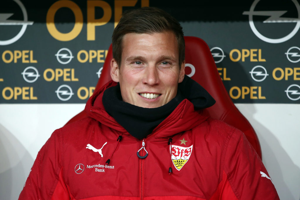 MAINZ, GERMANY - JANUARY 20:  Head coach Hannes Wolf of Stuttgart smiles prior to the Bundesliga match between 1. FSV Mainz 05 and VfB Stuttgart at Opel Arena on January 20, 2018 in Mainz, Germany.  (Photo by Alex Grimm/Bongarts/Getty Images)