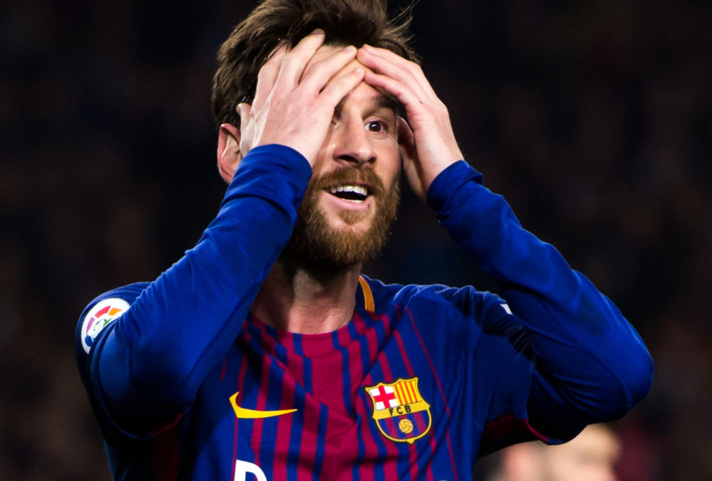 BARCELONA, SPAIN - JANUARY 25:  Lionel Messi reacts during the Spanish Copa del Rey Quarter Final Second Leg match between FC Barcelona and RCD Espanyol at Camp Nou stadium at Camp Nou on January 25, 2018 in Barcelona, Spain.  (Photo by Alex Caparros/Getty Images)