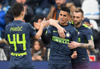 FERRARA, ITALY - JANUARY 28:  Joao Cancelo of FC Internazionale celebrates after scoring the opening goal during the serie A match between Spal and FC Internazionale at Stadio Paolo Mazza on January 28, 2018 in Ferrara, Italy.  (Photo by Alessandro Sabattini/Getty Images)