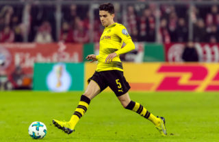 MUNICH, GERMANY - DECEMBER 20: Marc Bartra of Dortmund controls the ball during the DFB Cup match between Bayern Muenchen and Borussia Dortmund at Allianz Arena on December 20, 2017 in Munich, Germany. (Photo by TF-Images/TF-Images via Getty Images)