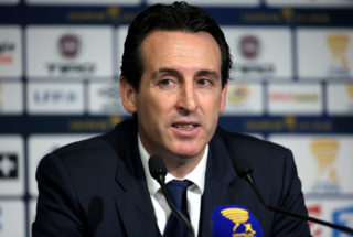 AMIENS, FRANCE - JANUARY 10: Coach of PSG Unai Emery answers to the media following the French League Cup (Coupe de la Ligue) match between Amiens SC and Paris Saint Germain (PSG) at Stade de la Licorne on January 10, 2018 in Amiens, France. (Photo by Jean Catuffe/Getty Images)