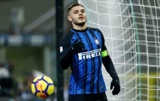Mauro Icardi of Internazionale  during the Serie A match between FC Internazionale and AS Roma at Stadio Giuseppe Meazza on January 21, 2018 in Milan, Italy.  (Photo by Matteo Ciambelli/NurPhoto)