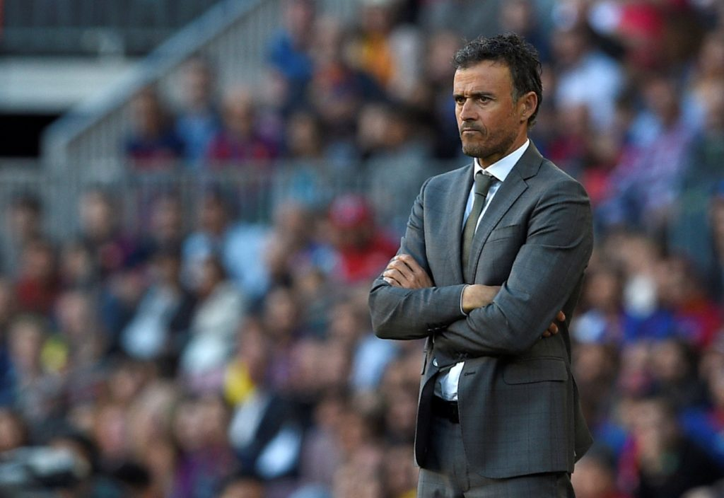 Barcelona's coach Luis Enrique looks on during the Spanish league football match FC Barcelona vs Villarreal CF at the Camp Nou stadium in Barcelona on May 6, 2017. / AFP PHOTO / LLUIS GENE