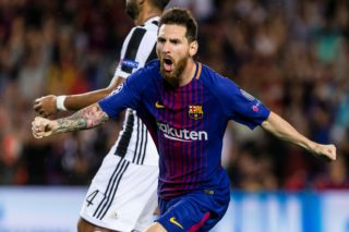 Lionel Messi celebrates scoring the goal during the match between FC Barcelona - Juventus, for the group stage, round 1 of the Champions League, held at Camp Nou Stadium on 12th September 2017 in Barcelona, Spain. (Photo by Urbanandsport/NurPhoto)