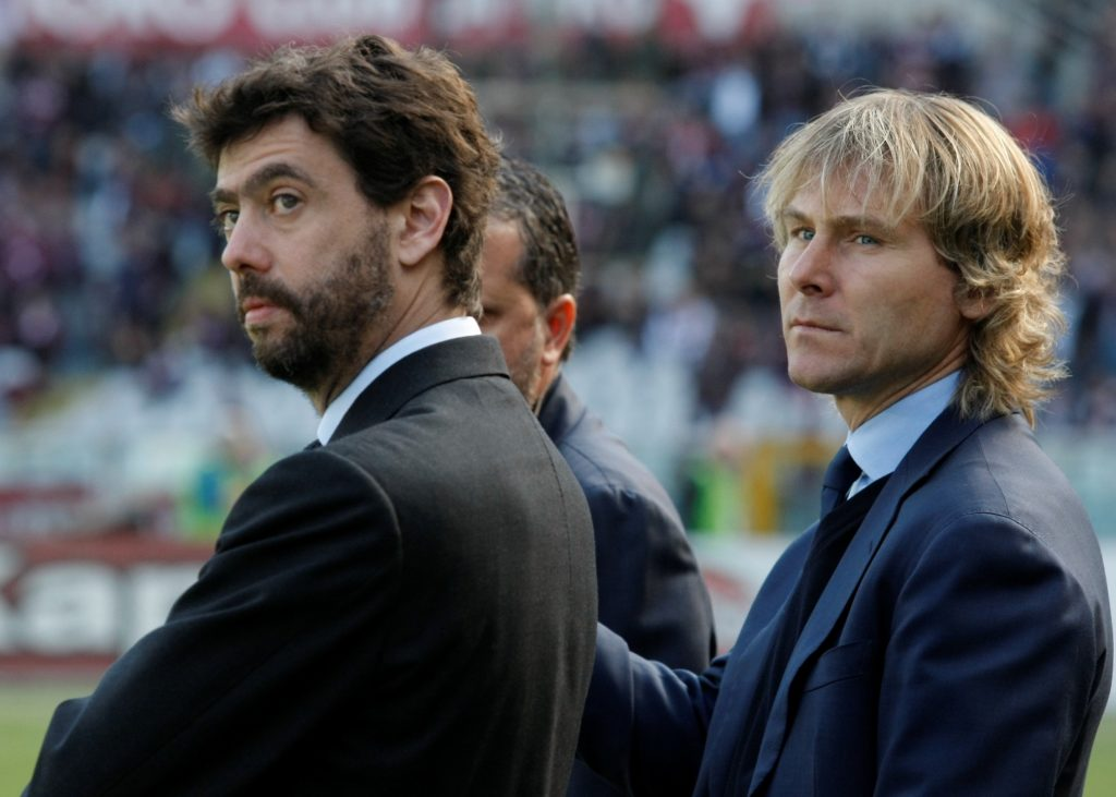 Andrea Agnelli and Pavel Nedved  before the serie A match between Torino FC and Juventus FC  at the Olympic Stafium of Turin  on march 20, 2016 in Turin, Italy.  (Photo by Loris Roselli/NurPhoto)