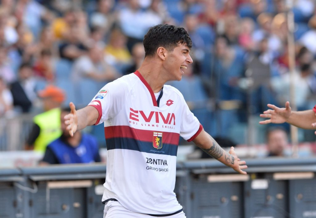 Pietro Pellegri celebrates after scoring goal 0-1 during the Italian Serie A football match between A.S. Roma and F.C. Genoa at the Olympic Stadium in Rome, on may 28, 2017. (Photo by Silvia Lore/NurPhoto)
