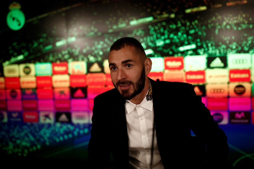 MADRID, SPAIN - SEPTEMBER 21: Karim Benzema of Real Madrid holds a press conference after his contract was extended by Real Madrid at Santiago Bernabeu Stadium in Madrid, Spain on September 21, 2017. Burak Akbulut / Anadolu Agency