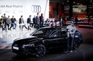 MADRID, SPAIN - NOVEMBER 4: Karim Benzema of Real Madrid receives a new Audi car during a promotion event in Madrid on November 4, 2016. Audi gave the Real Madrid players their new vehicles for the 2016/17 season. Guillermo Martinez / Anadolu Agency