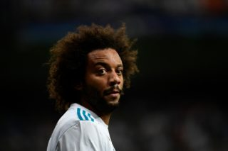 Real Madrid's defender from Brazil Marcelo looks on during the UEFA Champions League football match Real Madrid CF vs APOEL FC at the Santiago Bernabeu stadium in Madrid on September 13, 2017. / AFP PHOTO / PIERRE-PHILIPPE MARCOU