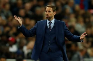 England's manager Gareth Southgate gestures to the fourth official from the touchline during the FIFA World Cup 2018 qualification football match between England and Slovenia at Wembley Stadium in London on October 5, 2017.  / AFP PHOTO / Ian KINGTON / NOT FOR MARKETING OR ADVERTISING USE / RESTRICTED TO EDITORIAL USE