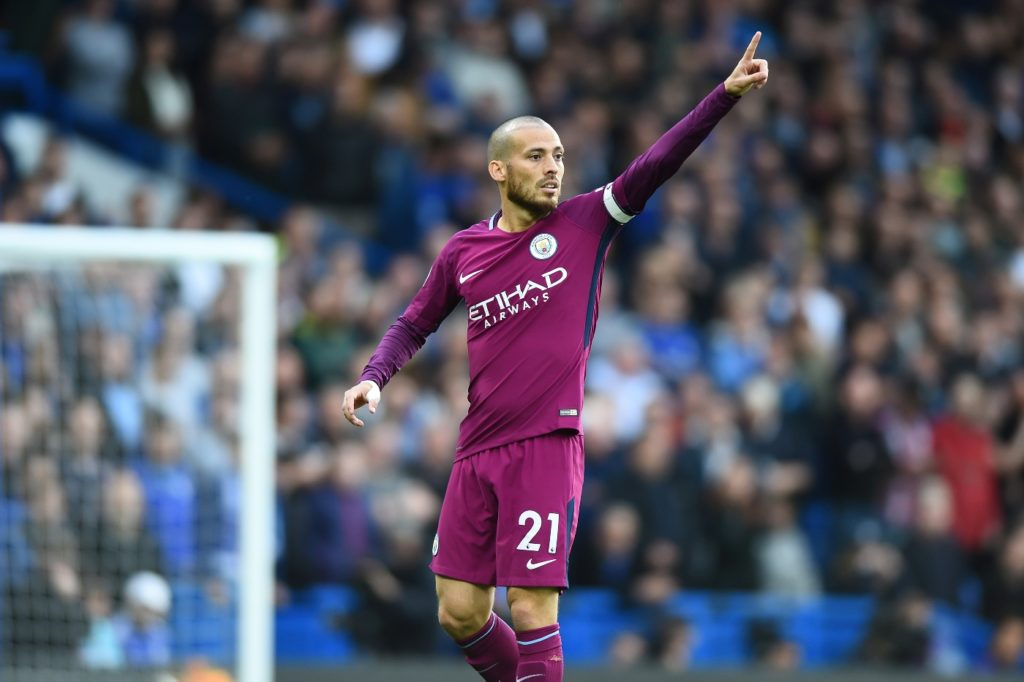 Manchester City midfielder David Silva (21) during the Premier League match between Chelsea and Manchester City  at Stamford Bridge, London, England on 30 Sept 2016.    (Photo by Kieran Galvin/NurPhoto)