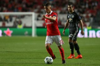 Benficas defender Alex Grimaldo from Spain during the match between SL Benfica v Manchester United FC UEFA Champions League playoff match at Luz Stadium on October 18, 2017 in Lisbon, Portugal. (Photo by Bruno Barros / DPI / NurPhoto)