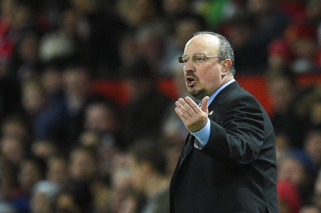 Newcastle United's Spanish manager Rafael Benitez gestures from the touchline during the English Premier League football match between Manchester United and Newcastle at Old Trafford in Manchester, north west England, on November 18, 2017. / AFP PHOTO / Oli SCARFF / RESTRICTED TO EDITORIAL USE. No use with unauthorized audio, video, data, fixture lists, club/league logos or 'live' services. Online in-match use limited to 75 images, no video emulation. No use in betting, games or single club/league/player publications.  /