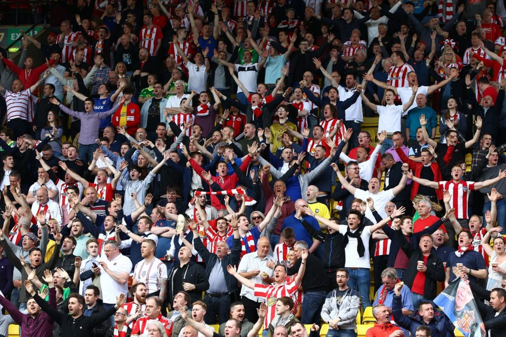 Sunderland fans during the English championship Premier League football match between Watford and Sunderland on May 15, 2016 played at Vicarage Road in Watford, England - Photo Michael Zemanek / Backpage Images / DPPI