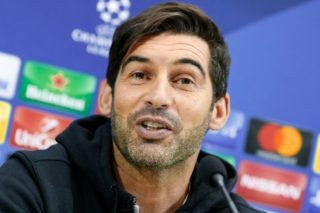 FC Shakhtar's Portuguese coach Paulo Fonseca speaks during a press conference at the San Paolo Stadium, in Naples, on November 20 2017, on the eve of the UEFA Champions League Group F football match between SSC Napoli and FC Shakhtar Donetsk. / AFP PHOTO / CARLO HERMANN