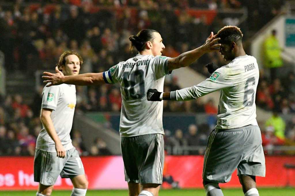 Zlatan Ibrahimovic (10) of Manchester United celebrates scoring the equalising goal to make the score 1-1 during the English League Cup, EFL Cup, quarter final football match between Bristol City and Manchester United on December 20, 2017 at Ashton Gate in Bristol, England - Photo Graham Hunt / ProSportsImages / DPPI