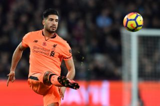 Liverpool's German midfielder Emre Can passes the ball during the English Premier League football match between West Ham United and Liverpool at The London Stadium, in east London on November 4, 2017. / AFP PHOTO / Ben STANSALL / RESTRICTED TO EDITORIAL USE. No use with unauthorized audio, video, data, fixture lists, club/league logos or 'live' services. Online in-match use limited to 75 images, no video emulation. No use in betting, games or single club/league/player publications.  /